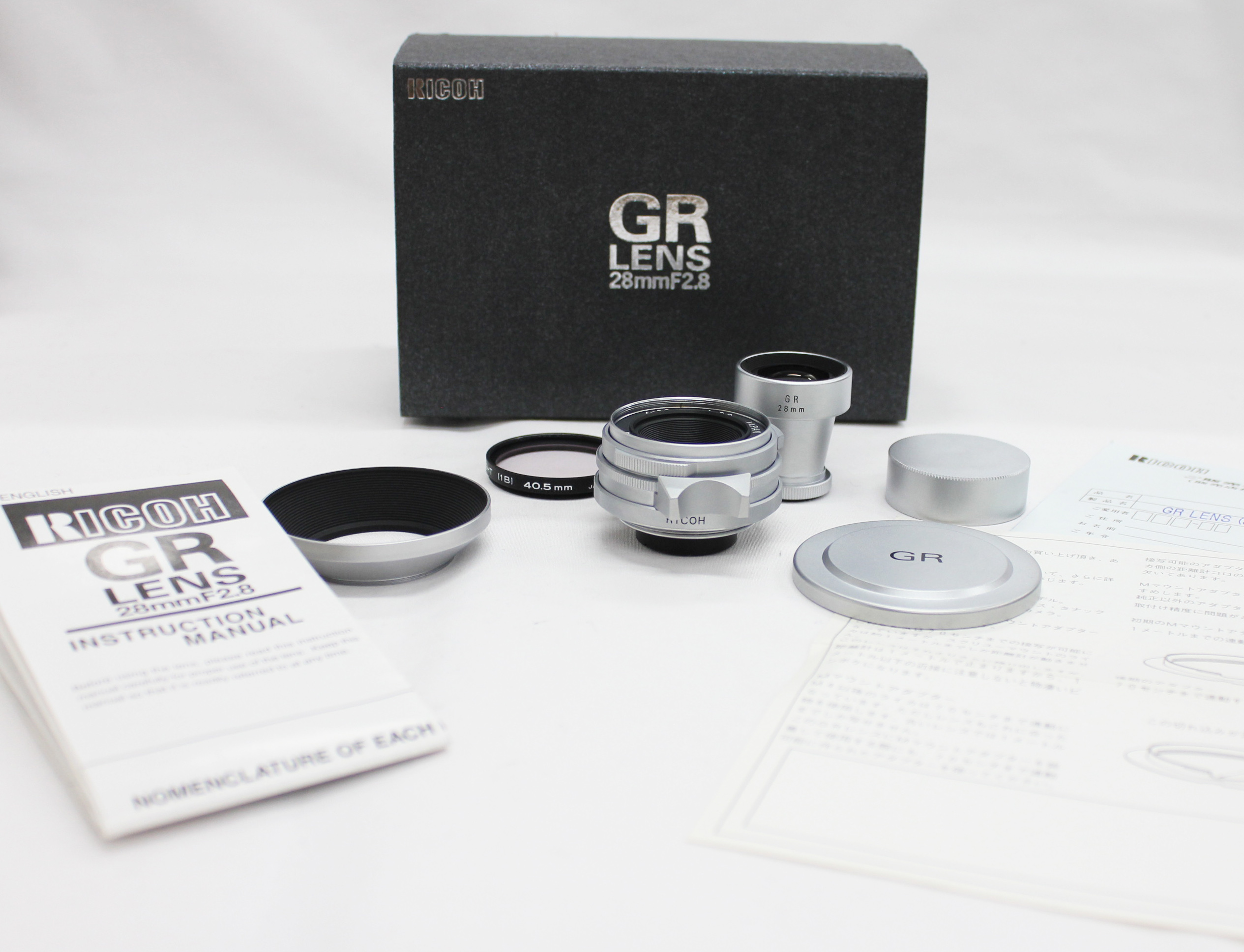 Japan Used Camera Shop | [Mint] Ricoh GR Lens 28mm F/2.8 for L39 LTM Leica Screw Mount with 28mm Finder in Box from Japan