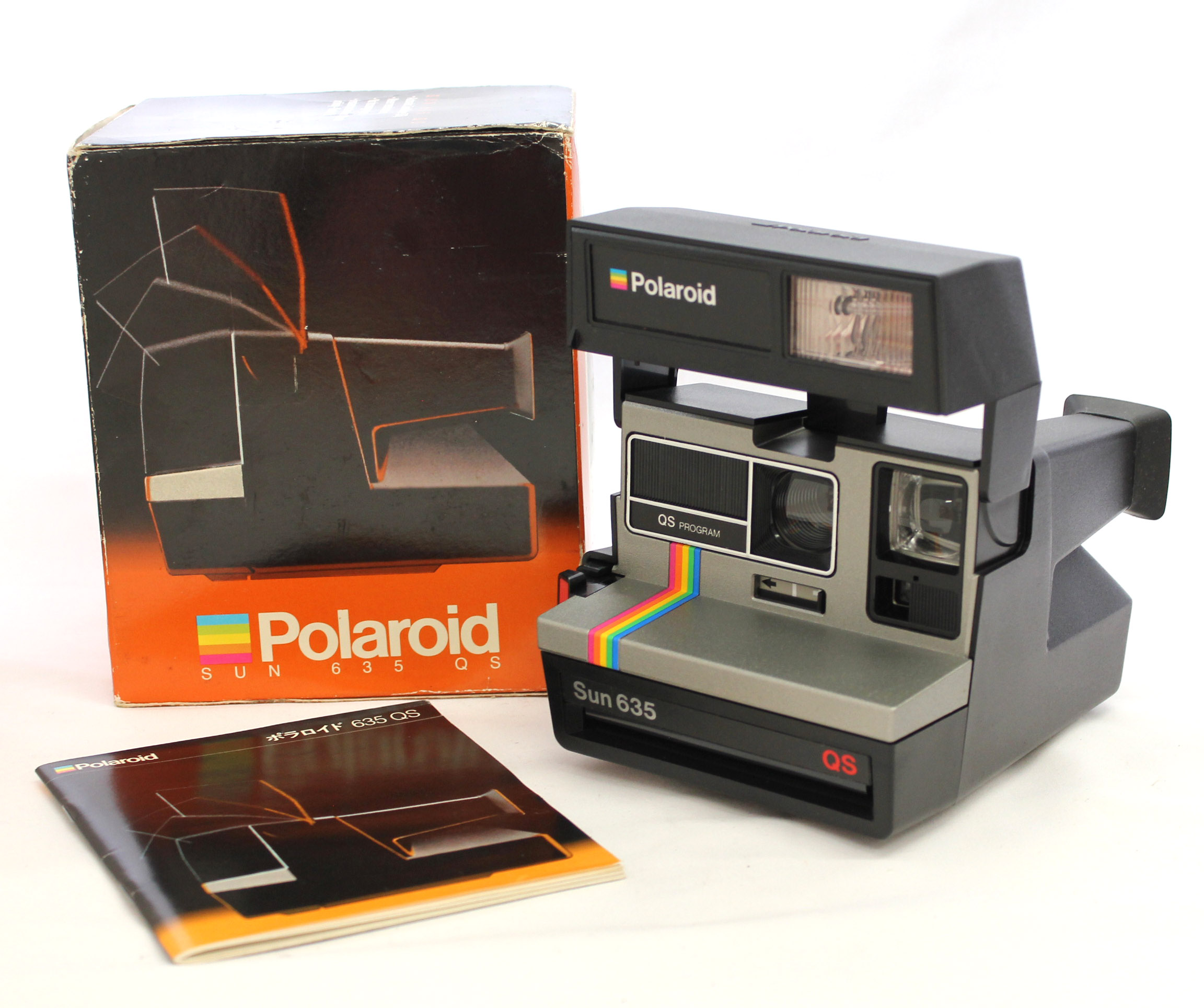 Japan Used Camera Shop | [Near Mint] Polaroid Sun 635 QS Rainbow Stripe Instant Film Camera from Japan