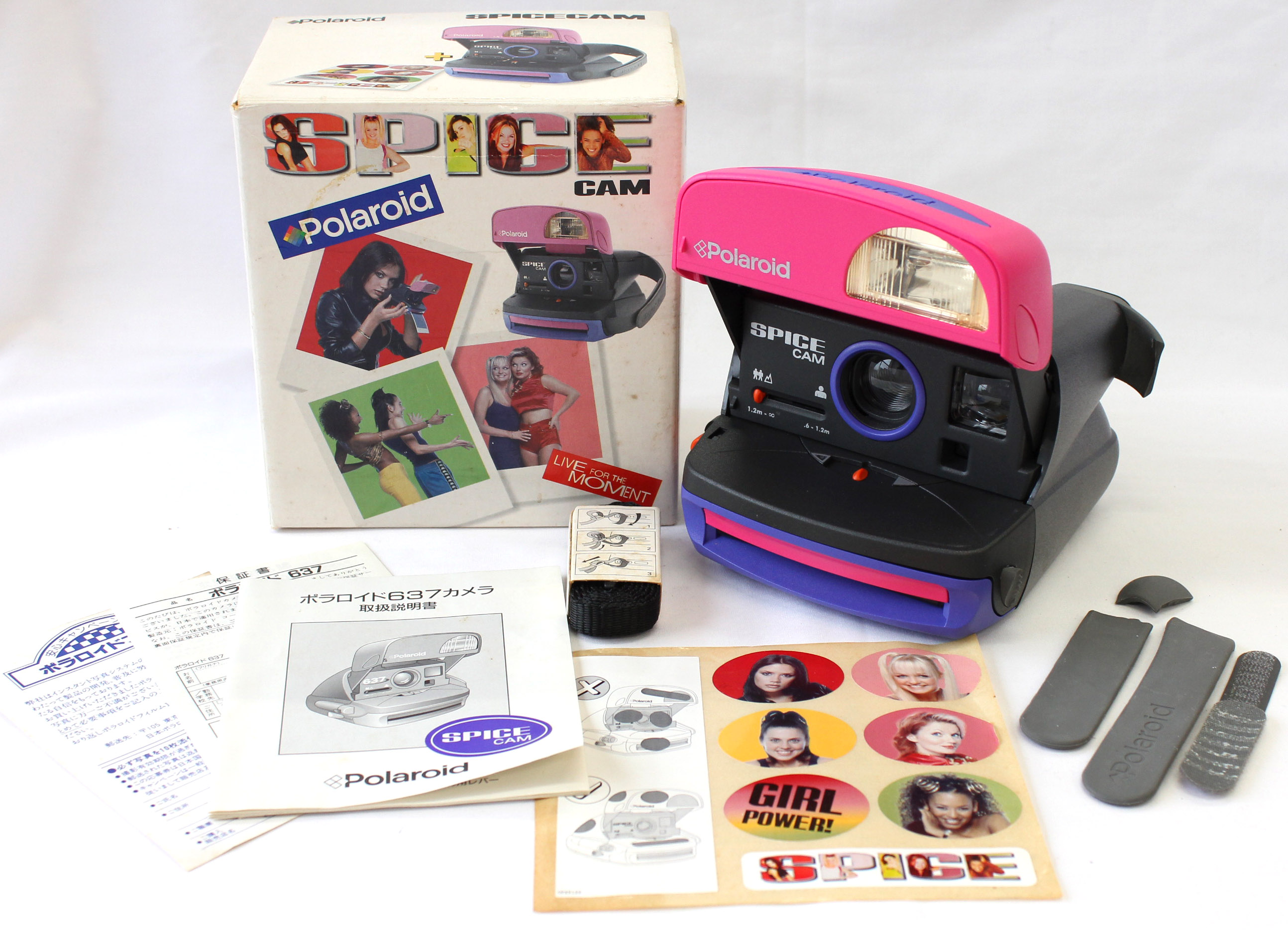 Japan Used Camera Shop | Polaroid 637 Spice Cam Spice Girls Instant Camera with Box from Japan
