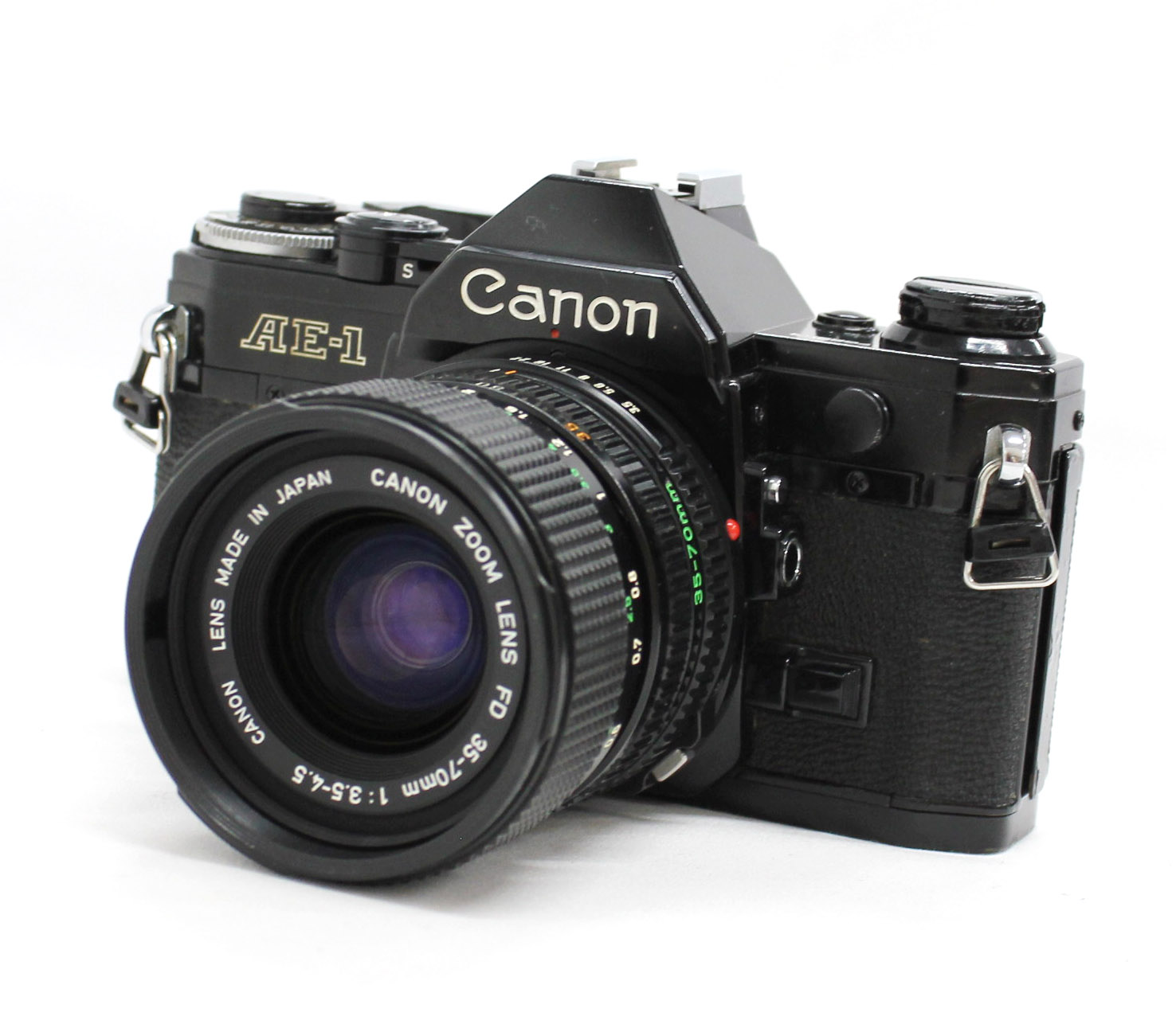 Canon AE-1 35mm SLR Film Camera Black with New FD 35-70mm F/3.5-4.5 Bonus Lens from Japan