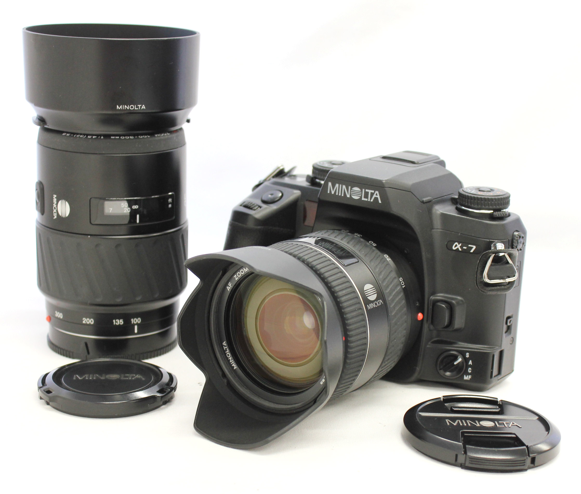 [Near Mint] Minolta Maxxum 7 Dynax 7 a7 α-7 with AF Zoom 24-105mm F/3.5-4.5 D & AF Zoom 100-300mm F/4.5-5.6 from Japan