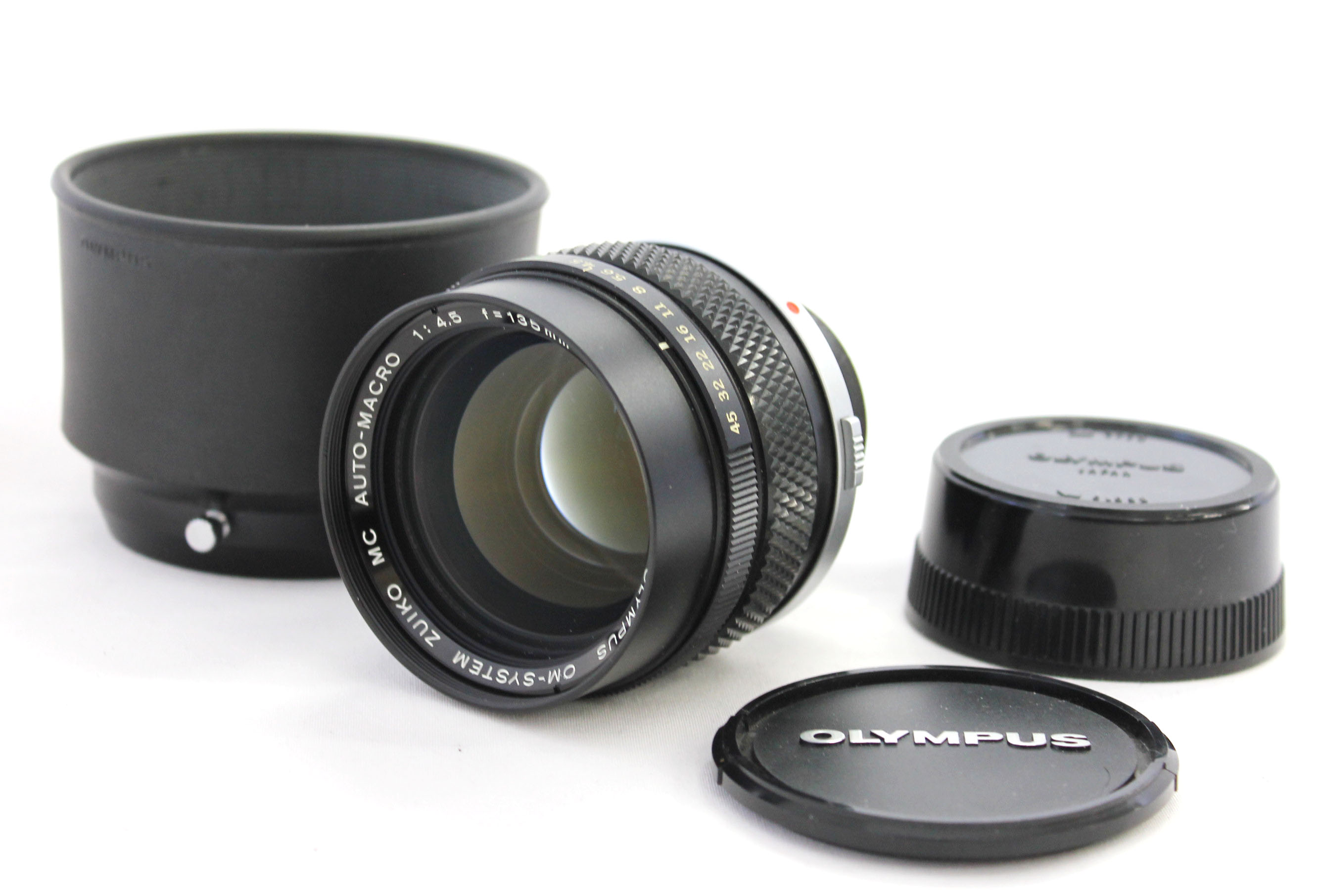 Japan Used Camera Shop | [Near Mint] Olympus OM-System Zuiko MC Auto-Macro 135mm F/4.5 Lens with Hood from Japan